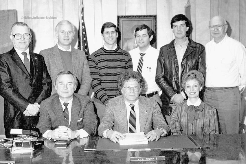 McKenzie City Council, 1988 (Seated, L to R): Atty. Kent Jones, Mayor Joe Morris and City Clerk Jane Thompson. (Standing, L to R): J. R. McDonald, Danny Yates, Dennis R. Coleman, Bob Putman, Dan Bradfield and Billy Vawter.