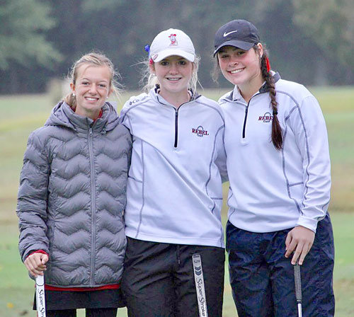 Fourth place McKenzie Lady Rebels team (L to R): Juleyanne Weatherford, Maggie Glass and Whitley Smith.