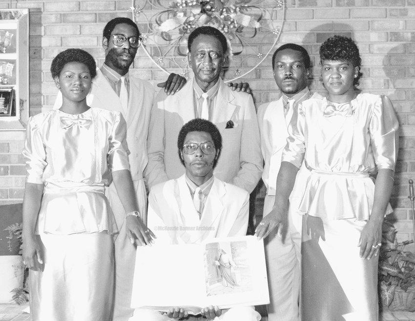 """The Faithful Souls"" Gospel Group, 1980s. Pictured are: Marilyn Johnson, Robert Johnson, Alvin Fields, Anthony Gordon, Marie Fields Johnson and Danny Johnson."