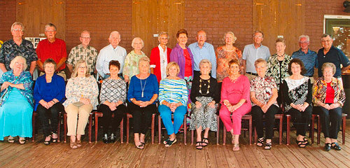 Members of the MHS Class of 1959 attending the reunion were (L to R): Front Row — Ann Featherstone Harris, Patsy Grissom Denman, Mary Bennett Newman, Shirley Turner Wyatt, Carolyn Clanton Maddox, Joan Argo Brown, Marilynn Holland Putman, Sandra Sparks Spires, Evelyn Bush Wilson, June Bomar Lampkins and Joy Brashear; Back Row — Ralph Golden, Jimmy Brown, Joe Houston, Charlie Herron, Betty Townes Black, Sue Sampson Coleman, Catherine Dinwiddie Argo, Harold Mayo, Sally Fuchs Lehning, Hugh Scarbrough, Nancy Barton Moore, Bill Kelley and Tommy Putman. Submitted photo