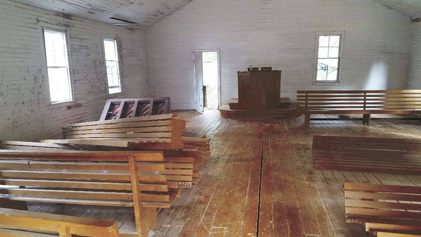 Numerous pews found damaged in the church.