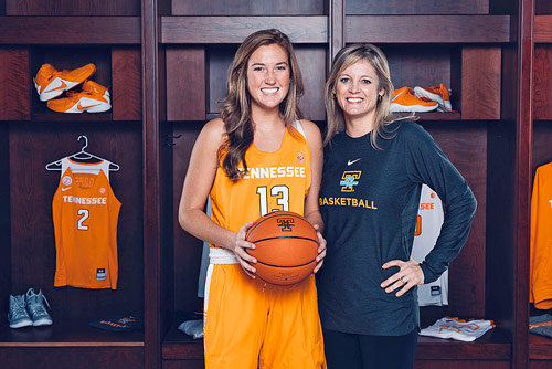 Greenfield Lady Yellowjacket senior and Tennessee Lady Vol commit Tess Darby with Lady Vols Head Coach Kellie Harper.