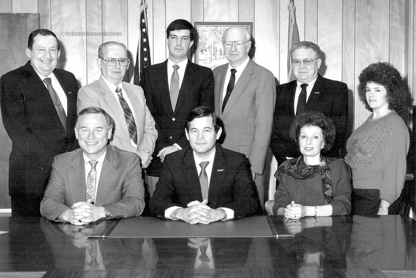McKenzie City Council, 1989. Seated (L to R): Atty. Kent Jones, Mayor Bob Putman and City Clerk Jane Thompson. Standing (L to R): Ed Brashear, John Moseley, Dan Bradfield, Billy Vawter, Doug McCadams and Darra Adkins.