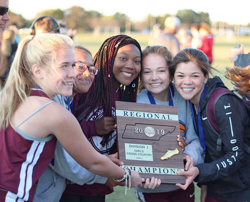 Region 7 Small Class Cross Country Champion West Carroll Lady War Eagles (L to R): Noelle Roberts, MaKenya Gaskin, Destini Roberson, Natalie Moore and Sydney Bosley.