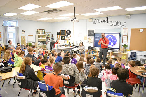McKENZIE (October 25) — Fourth graders at McKenzie Elementary School were visited Friday by West Tennessee Public Utility District Marketing Manager Madison Endres (left) and General Manager Brent Dillahunty, who spoke to the kids about detecting and safely responding to potential gas leaks in the home or school.