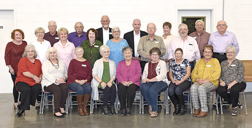 The McKenzie High School class of 1964 held its 55th class reunion on Oct. 12 at the barn of Robert Chandler. The classmates, along with former teacher Charlene Jones, enjoyed renewing old friendships and reminiscing memories of days gone by. After a buffet meal catered by Mallards, Martin Paschall entertained everyone with his music. The class voted to have another reunion in October 2021. Pictured are (L to R): Front Row — Bonnie Clanton Martin, Janet Manley Coomer, Lois Felts Lamb, Ruth Morgan, Charlene Jones, Patricia Rich Eubanks, Della Barnett, Martha Allen Hastings and Judy Faust Smith; Second Row — Patty Gaines Kribel, Joyce Moore Trevathan, Susie Branon, Iris Brashear Hubbard, Martha Sue Mebane Peters, Jimmy Bryant and Dell Carter; Back Row — Bobby Foster, Don Rich, Martin Paschall, Bo Booth, Ann Carol McCaleb Mayo, Wesley Beal and Walter Winchester.