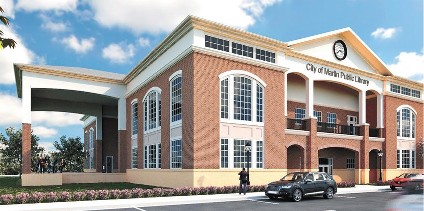 A pictorial drawing depicts Martin's new $14 million library.