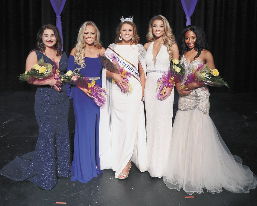 Emma Christiansen of Murfreesboro is the 2019 Miss Bethel University. She will compete in the Miss Tennessee Volunteer Scholarship Pageant in Jackson in June. The local pageant was Saturday, November 24 in the Bouldin Auditorium on the campus of Bethel. (L to R)  Third Maid and Miss Congeniality: Morgan Franks from Savannah; First Maid Jayne Shaye Bailey of Gleason, Miss Bethel University  Emma Christiansen of Murfreesboro, Second Maid Emma Martin of McKenzie, and Fourth Maid Jada Donald of Humboldt. The People's Choice Vote was Chelsey Thweatt of Jackson (not pictured).