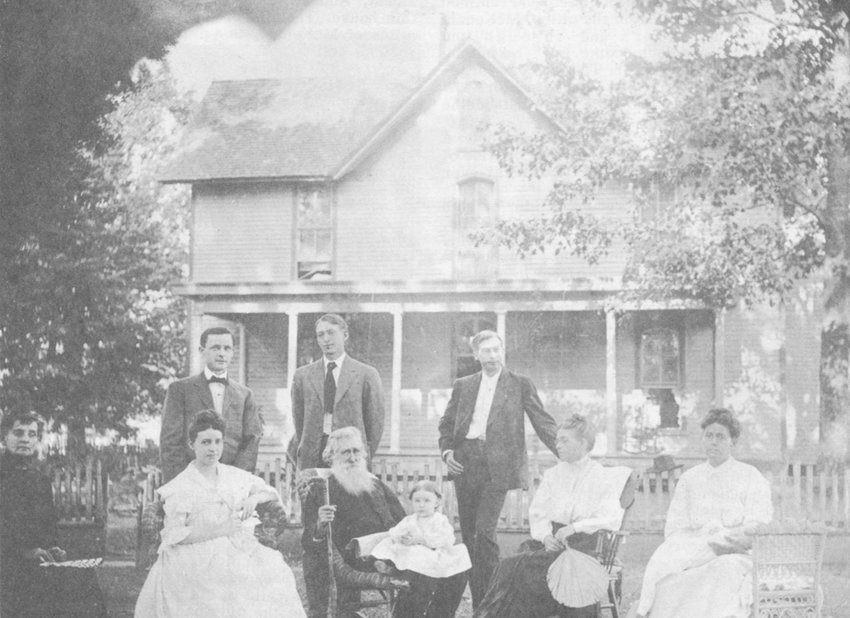 The home of Dr. R.D. Gwin. Pictured (L to R) front row; Miss Mariah Bomar, Gladys Gwin Kelley, Dr. R.D. Gwin, Elizabeth Kelley in Dr. Gwin's lap, Mrs. Sara Elizabeth Bomar Gwin, Nancy Bell with Katharin Bomar, back row; William Driscoll Kelley, Robert Donnell Gwin II and Edward Gwin.