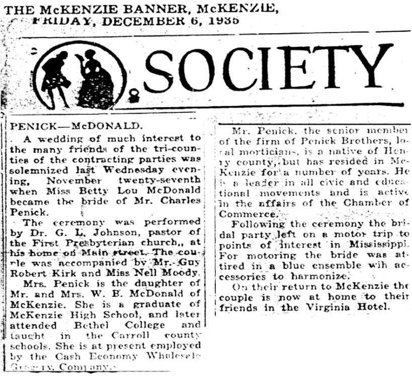 An article from the society page of The McKenzie Banner in 1935. The article details the wedding of Charlie Penick to Betty Lou McDonald.
