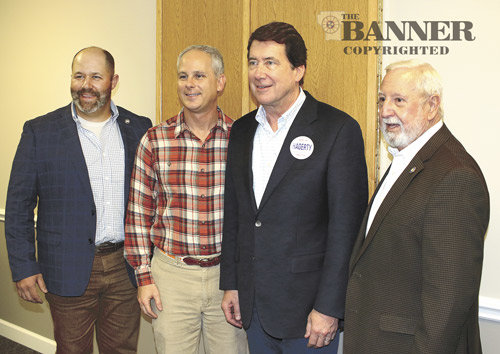 State Representative Andy Holt, State Senator John Stevens, Bill Hagerty, and State Representative Curtis Halford.
