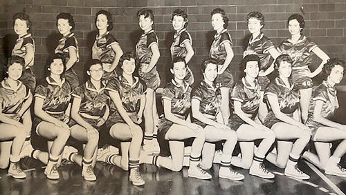 The 1960 McKenzie High School Rebelettes (L to R): Front Row — Mary Lou Smith, Gina Hansen, Kay Brown, Betty Blades, Carol Ellis Daughtery, Judy Burroughs, Annette Sasser, Sally House and Diane Stoner; Back Row — Pam Fuchs, Barbara Cozart, Paula Pinson, Sharon Neilson, Judy Abernathy, Jeanne Duncan, Karen Webb and Emily Field.