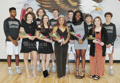 West Carroll Homecoming Court and Escorts — Erin Norman with escort Josh Clark, Macey Cunningham with escorts Jack Barrow and Jed Robinson, Ashley Myles with escorts Tyler Johnson and Luke Moore, Iyanna Hall and escort Dallas Montgomery, and Jenna Walker and escort Colton Hart.