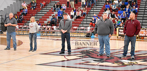 Board members were recognized on the court between Friday night's high school basketball games. Pictured are (L to R): Chairman William Robinson, Legislative Liaison Misty Mitchell, Vice-Chairman Mike Foster, Patrick Lindsey and Treasurer/Secretary Kyle Foster.