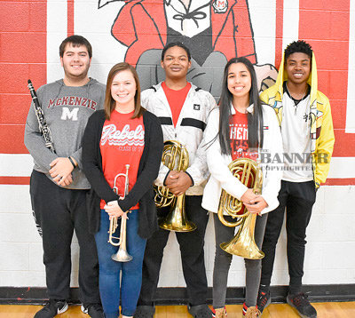 Pictured are McKenzie High School band members (L to R): Andrew Goodrum, Claire Cottrill, Zack Roy, Yajaira Vega and Jonathan Haney.