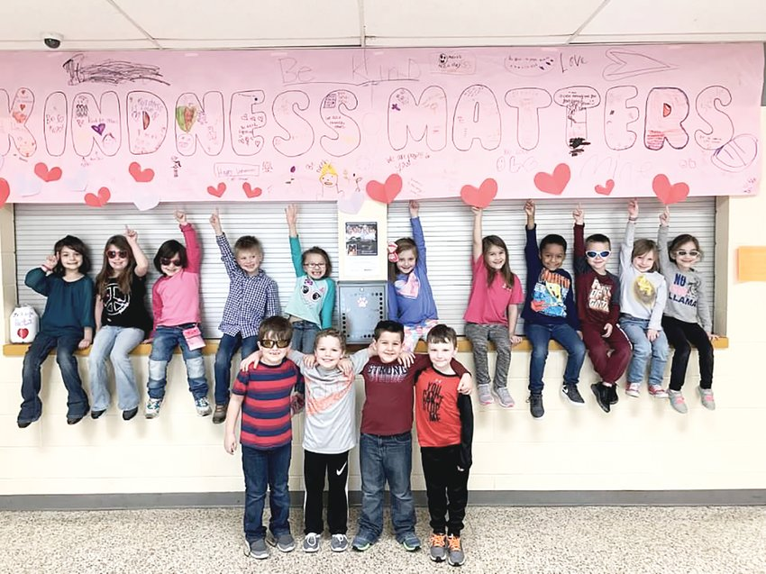 "A kindergarten class celebrates ""Kindness Week"" at Gleason School.  Back Row: Angelique Lannom, Karlee Wright, Sadie Wells, Wyatt Owen, Grace Gearin, Kenzie Walker, Daisy Champion, Je'vien Gonzalez, Jase Dilday, Alyssa Hall, Nevaeh Bentley.  Front Row: Landon Parsons, Mason Douglas, Aybel Black and Tanner Radford."