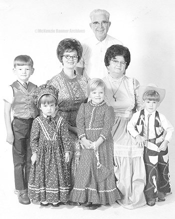 "Centennial, 1969. Standing (L to R): Kevin White, Carla White Crocker, Cindi Wade and Dwayne ""Bubba"" Melton, Jr. Seated (L to R): Barbara Bannister and Cluster Ellis. Standing: Roy Ellis."