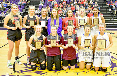 The District 11A Girls Basketball All-District Team includes (L to R): Front Row — McKenzie's Shelby Davis, West Carroll's Tatym Keymon and Macey Cunningham and Huntingdon's Kaci Fuller and Adyn Swenson (Most Valuable Player); Back Row — McKenzie's Anna Callahan, Lilly Bennett and Dani Dyer, Central's Brylee Williams, Clarksburg's Ashlyn Yarbrough and Huntingdon's Brooke Butler and Tyasia Reed.