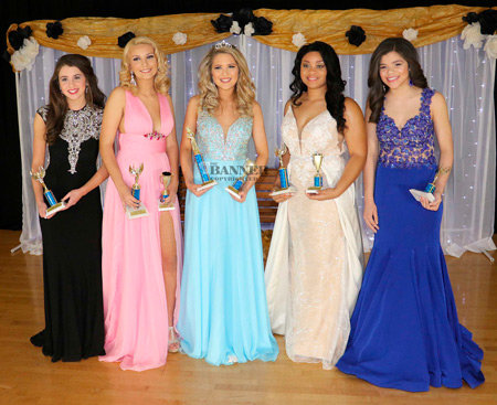 The 2020 Miss West Carroll pageant was held at West Carroll Junior/Senior High School. (L to R) Third Maid – Kelsey Homles, 9th grade, daughter of Richard and Kayla Holmes; First Maid – Macy Springer, 10th grade, daughter of John and Michelle Springer; Queen – Brooklin Polinski, 10th grade, daughter of Jessica Estes and Tommy Polinski; Second Maid – Ashley Myles, 12th grade, daugther of Allison and Cedrick Myles; and Fourth Maid – Sydney Bosley, ninth grade, daughter of Rodney and Michelle Bosley.