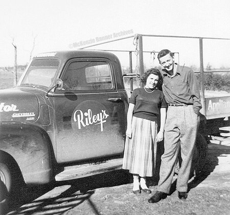 Ed and Lucille Brashear about 1953 in front of Riley's Furniture Truck. Riley's is where Ed first worked in furniture sales in downtown McKenzie.