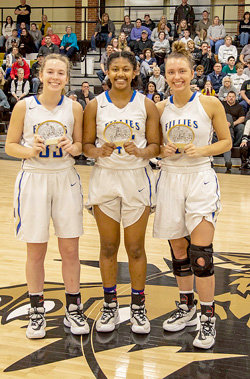From (L to R), Huntingdon Fillies Brooke Butler, Tyasia Reed and Adyn Swenson were named to the Region 6A Girls All-Tournament Team. Also named, but not pictured, were McKenzie Lady Rebels Anna Callahan and Lilly Bennett.