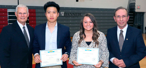 Recipients of the Rotary scholarships were Jackey Zheng and Jenna Tucker. Terry Howell and Joel Washburn, both Rotarians, are also pictured.
