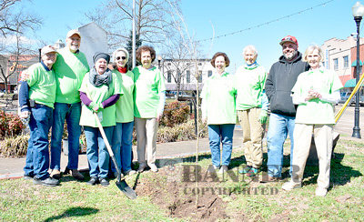 Morning Glory Garden Club members planted a tree in Veterans Park. Pictured are (L to R): Judy Winters, Larry Scott, Donna Hodge, Zia Locke, Robbie Barker, Kay Barker, Judy Davis, Jeremy Allen (McKenzie Parks and Recreation) and Gena Manner.