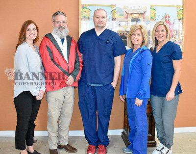 The staff of Integrative Health Center of McKenzie (L to R): Allison Castleman, FNP; Dr. Daniel Sumrok; Jason Hodge, LPN; Patsy Mattox, office manager; and Stephanie McClerkin, patient care coordinator.