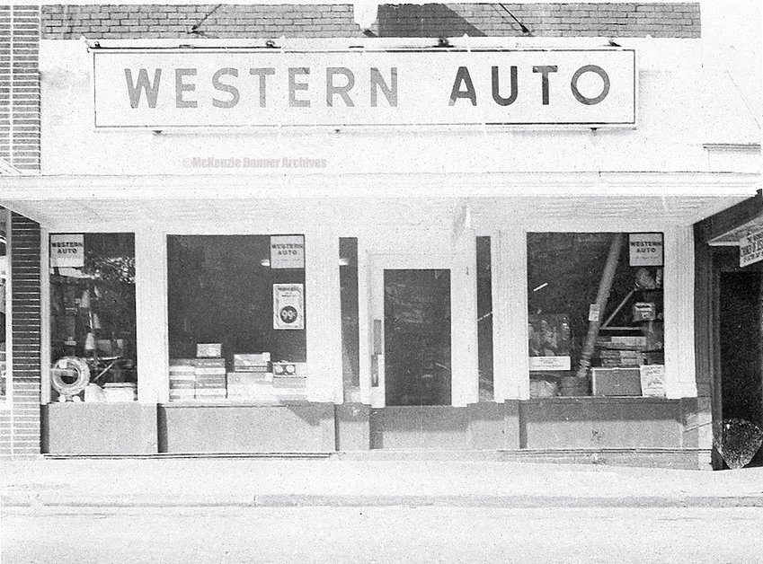 Western Auto, owned and operated by Jack Hall, Cedar Street, McKenzie, early 1960s.
