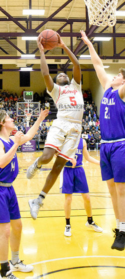 Rebel and future Wildcat Lazarick Hill in action at Bethel University's Crisp Arena during his District 11A Boys Basketball Tournament MVP performance.