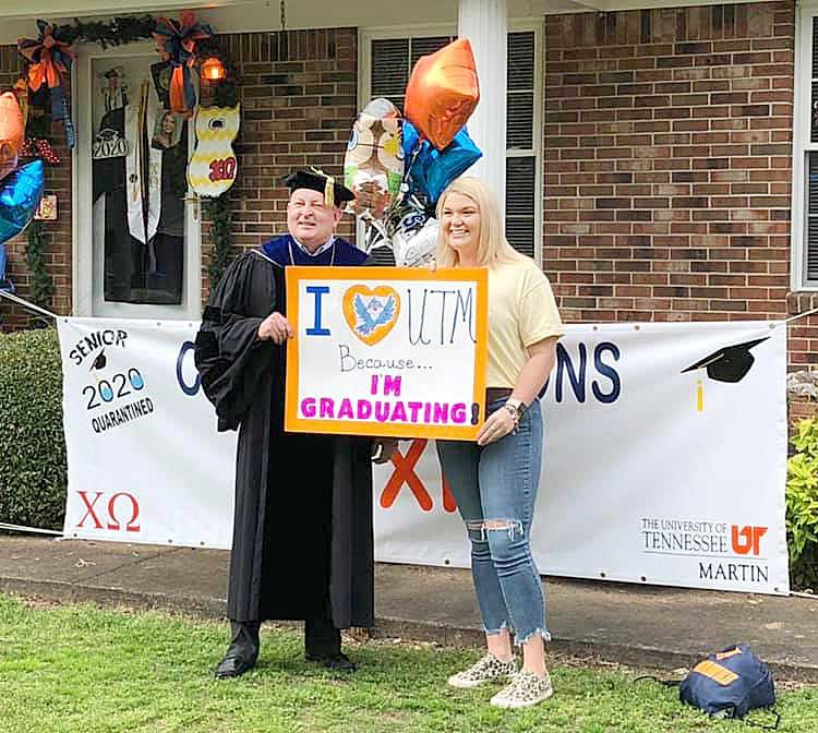 UT-Martin Chancellor Dr. Keith Carver made a surprise visit to the home of UTM Senior Lexie Bolin of McKenzie. The university closed its campus to students because of the COVID-19 pandemic. Students completed his semester via online classes.
