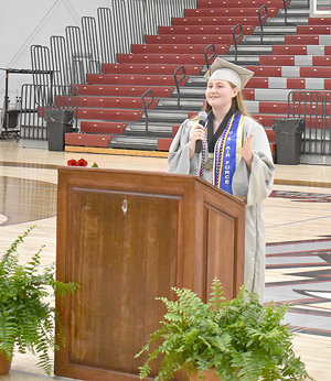 West Carroll salutatorian Olivia Goostree delivers her speech during a special commencement on Thursday, June 4.