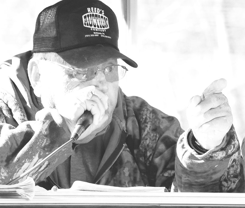 """James """"Bird Dog"""" Reed worked his final auction in 2018 near Pilgrim's Rest Church near Christmasville."""