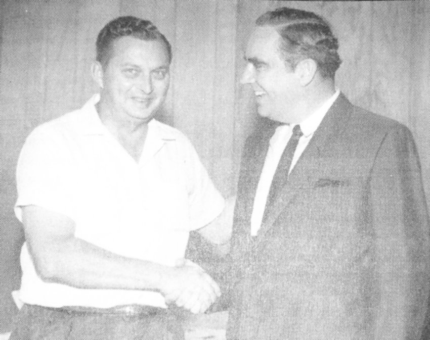 Paul Carroll with Tennessee Governor Buford Ellington. Carroll was an active Democrat and served as a magistrate/commissioner for Carroll County for over 25 years.