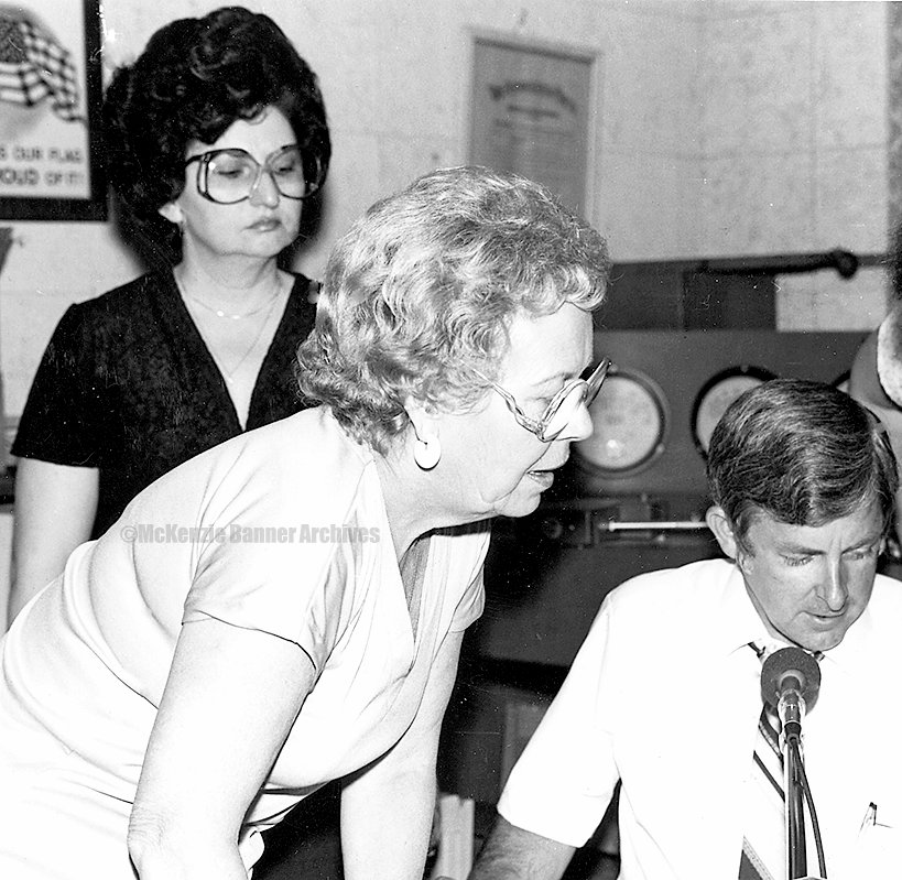 Cancer Bake Auction, W.H.D.M. 1980, Virginia Claire Edwards and Carolyn Burke.