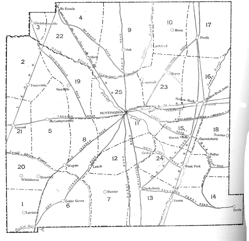 A early map of Carroll County printed in 1900. The map has the village of Newbills as the epicenter of District 19.
