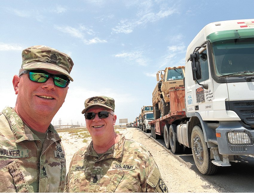 (L to R) Master Sgt. Todd Walker and Master Sgt. Richard Ozment, both of McKenzie, returned from their overseas deployment to Kuwait and arrived at the 194th Engineer Brigade in Jackson September 18.