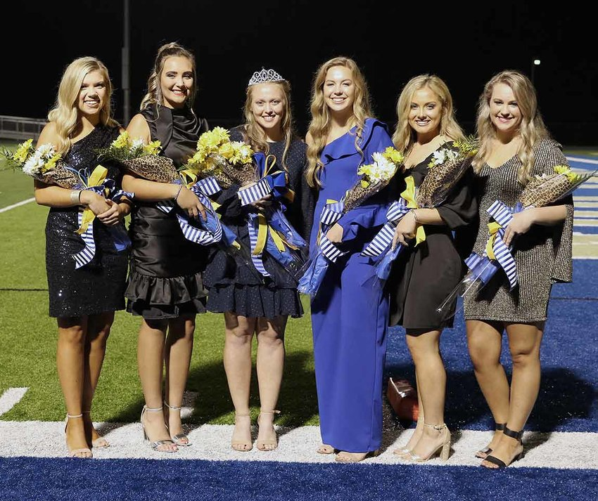 (L to R) Huntingdon Football Homecoming Queen and Court — Sophomore Tatum Nolen, Junior Rylee Holladay, Senior Anna Ruth White (Queen), Senior Brooke Butler, Sophomore Sadie Shands and Freshman Macy Thompson.