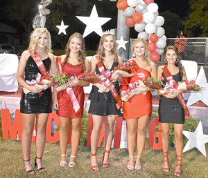 McKenzie High School Homecoming Royalty (L to R): Maggie Glass, Anna Grace Spivey, Queen Lauren Mansfield, Kennedy Green and Savanah Hill.