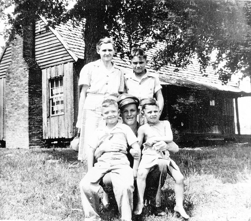 Standing: Louise and Austin. Front: Charlie, Warren and Wayne Cooper, 1946.