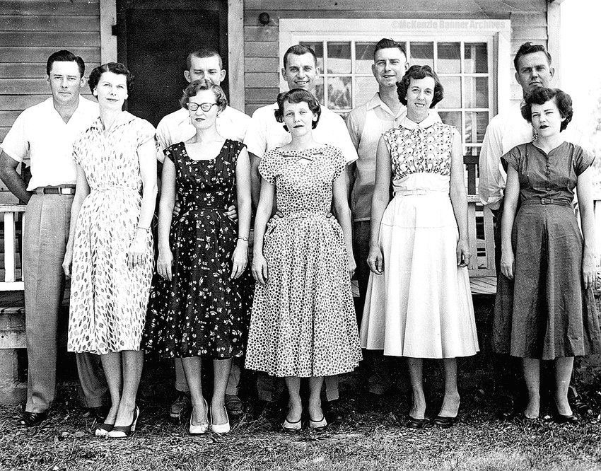 Barksdale Family, 1952, made at the homeplace of George and Pauline Barksdale. (L to R): Brooks and Mary Frances (Barksdale) Bannister, Kenneth and Lottie (Wray) Barksdale, Willard and Mary Lou (Miller) Barksdale, Warren and Brooxie (Penny) Barksdale, Wendell and Ardell (Traywick) Barksdale.