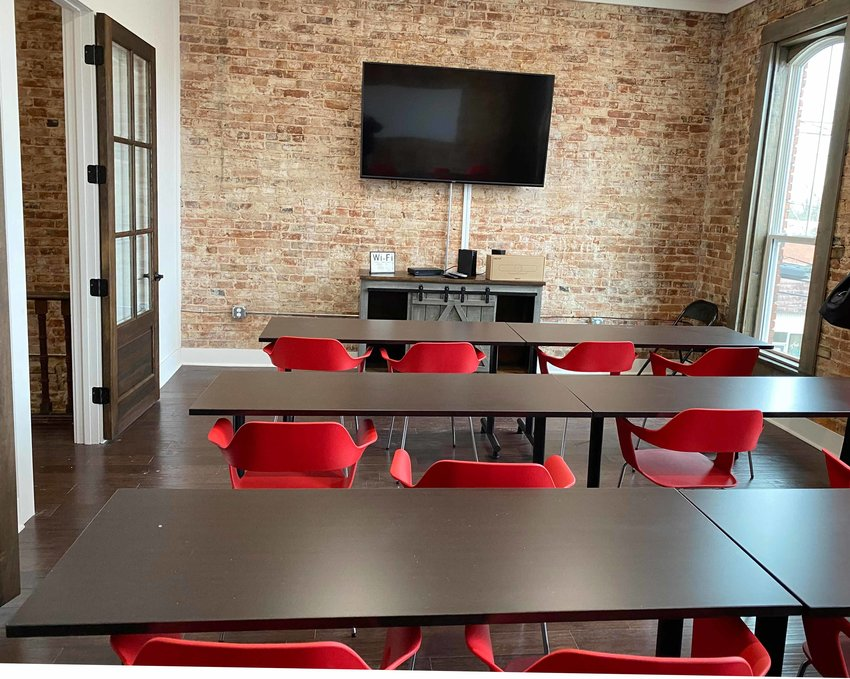 The second-floor conference room has wi-fi and audio-visual equipment to conduct training sessions or online meetings.
