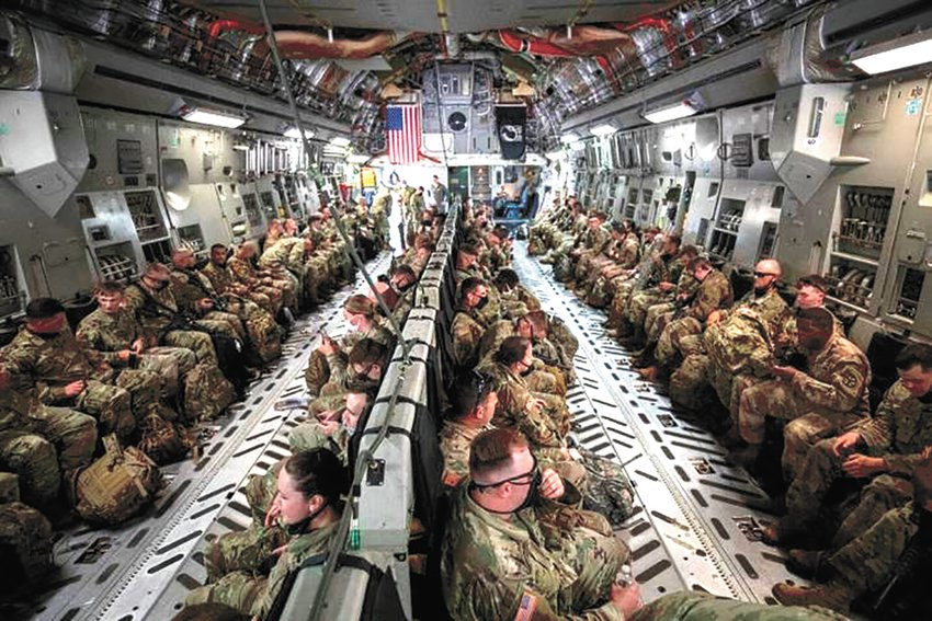 Tennessee National Guard members aboard a C-17 headed to Andrews Air Force Base, in Prince George's County, Maryland.