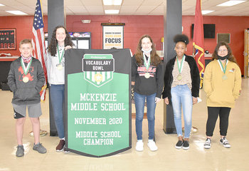 McKenzie Middle School's top Vocabulary.com performers during their November win (L to R): Tobey Brooks, Rachel Essary, Ally Gibson, La'Nyiah Newbill and Alessandra Ruiz.