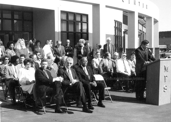 "Dedication of New City Hall, 1992. Mayor Bob Putman at the podium. File photo originally published in ""A Pictorial History of McKenzie, Tennessee,"" by The McKenzie Banner in October 2004."