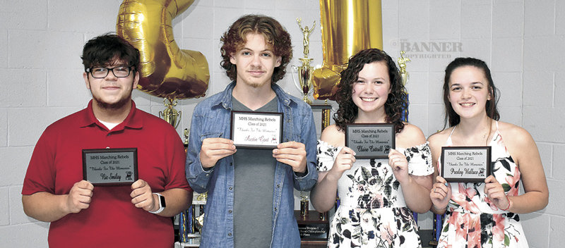 McKenzie High School band seniors (L to R) Nic Smiley, Austin Gant, Claire Cottrill and Presley Wallace were collectively named Bandsmen of the Year.