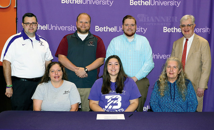 Hawkins Signs With Bethel Renaissance — Front (L to R): Janet Gibson, mom;, Lainee Hawkins of Cedar Grove and Barbara Bickerstaff, grandmother. Back (L to R): Ryan Griffin of Bethel; Michael Nelson, West Carroll Band Director; Adam Douglas, a teacher at West Carroll and Walter Butler, president of Bethel University.