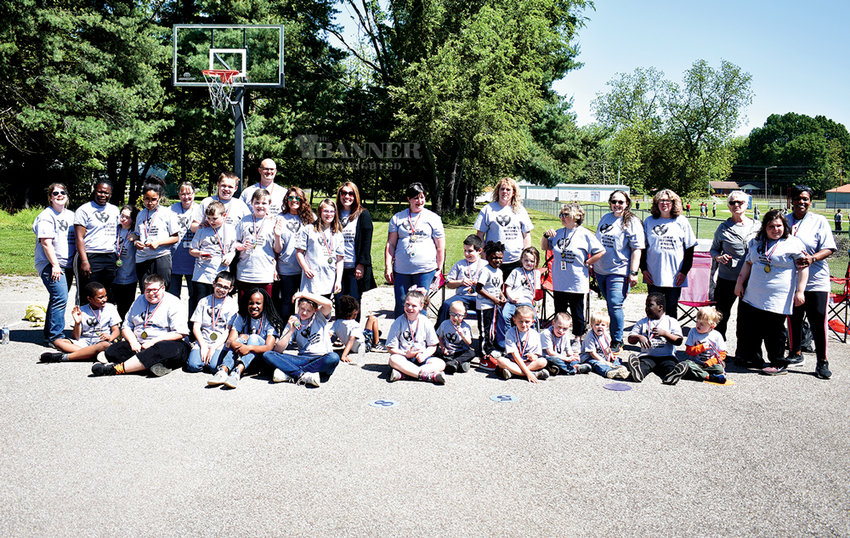 Participants and organizers for McKenzie's Mini-Special Olympics.  Right,