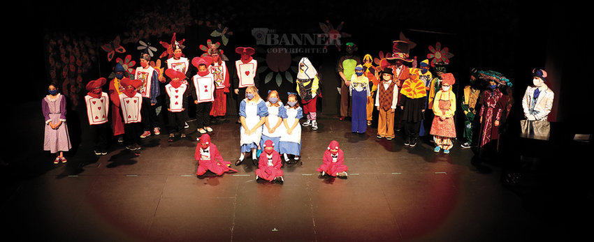 The group photo of the cast of Alice in Wonderland held at The Dixie Carter Performing Arts Center in Huntingdon.
