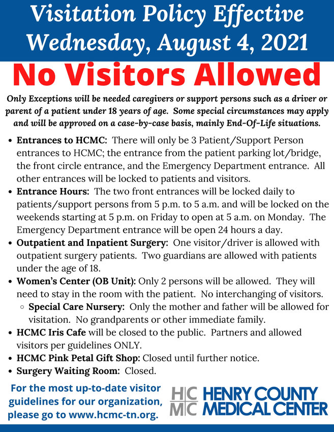 August 2021 Policy at Henry County Medical Center, Paris, Tenn.